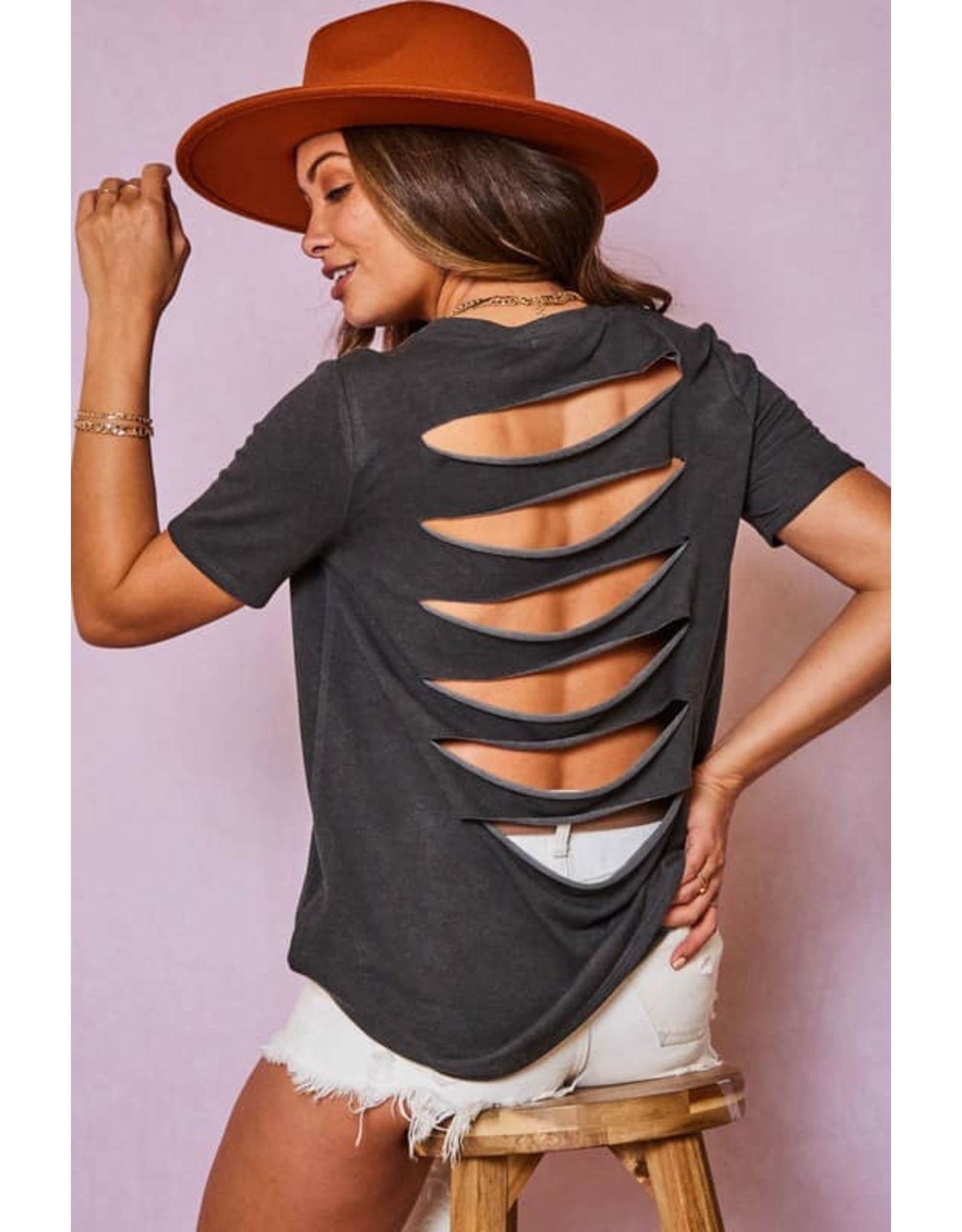 Solid Top with Laser Cut Back Detail