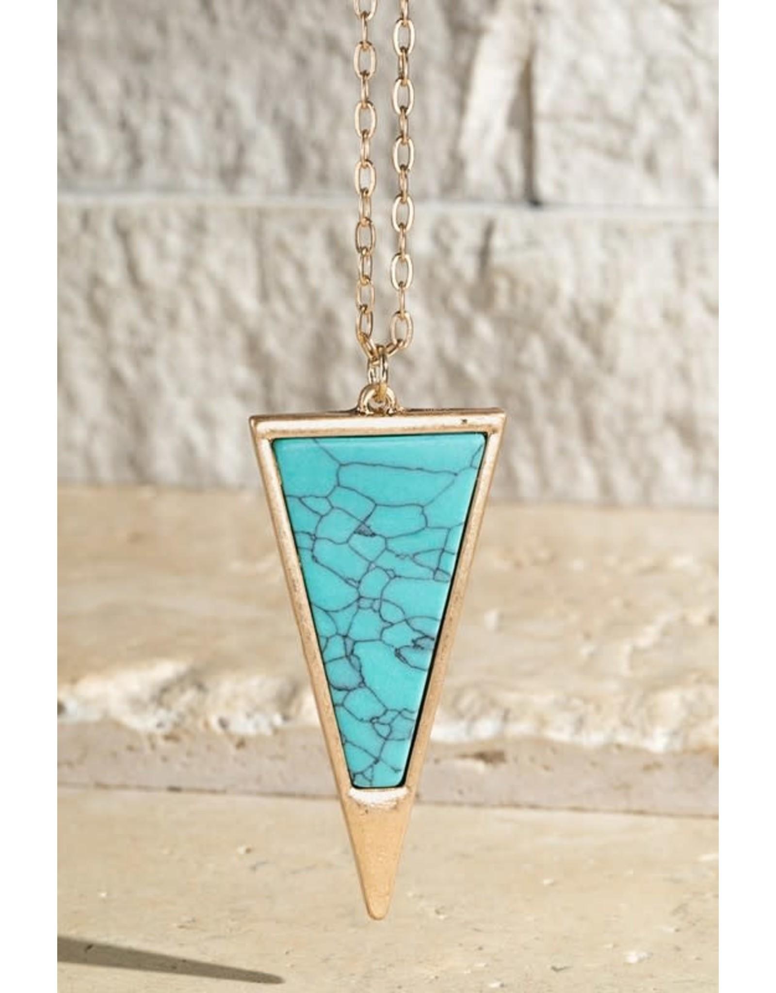 Stone Triangular Pendant Necklace