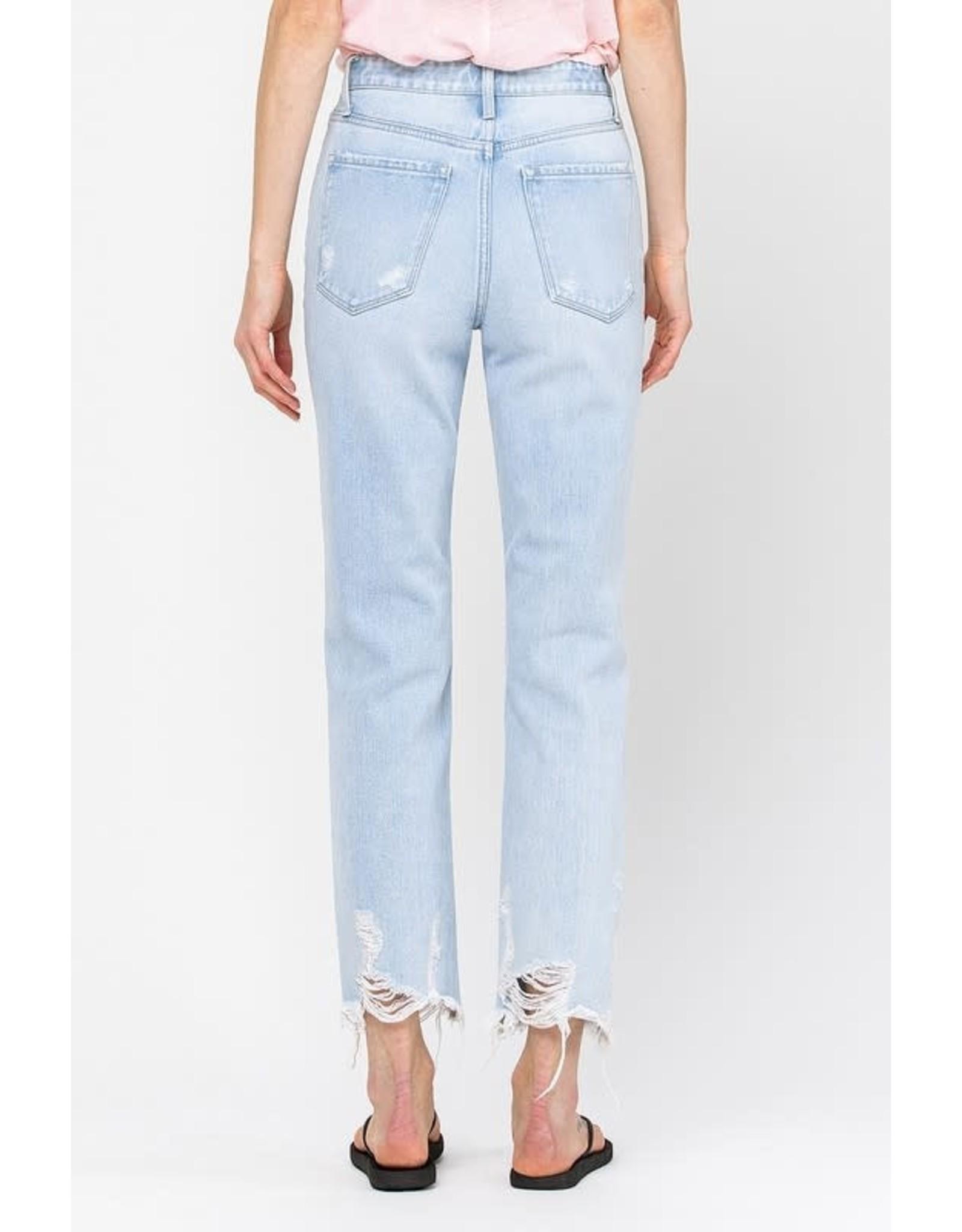 Icy Blue Flying Monkey Distressed Raw Hem Straight Jeans