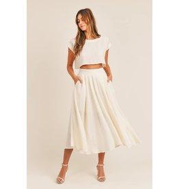 Linen Crop Top and Midi Skirt Set