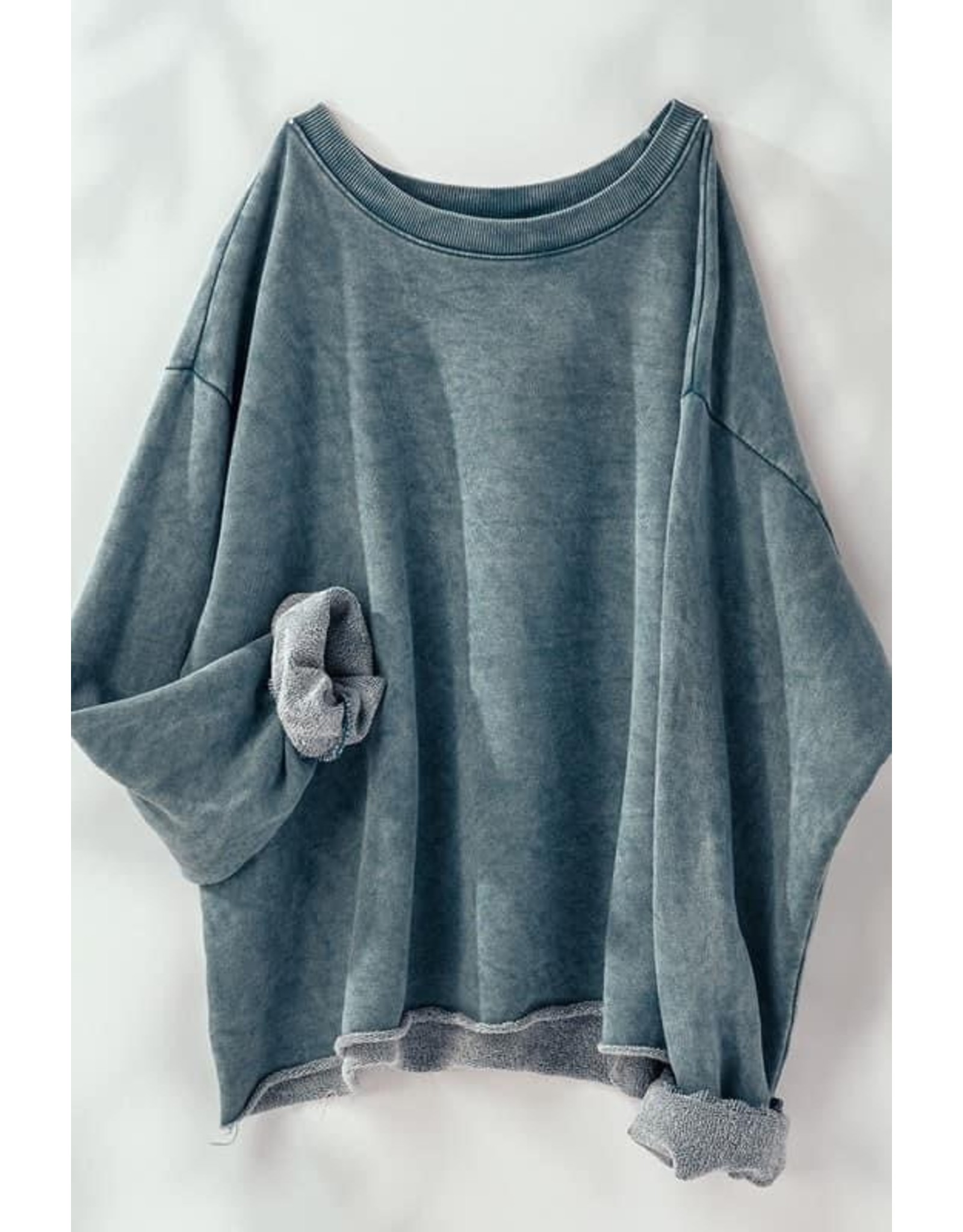 Mineral Washed French Terry Cropped Sweatshirt