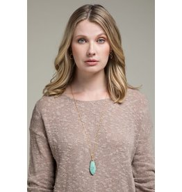 Brass & Oval Natural Stone Necklace