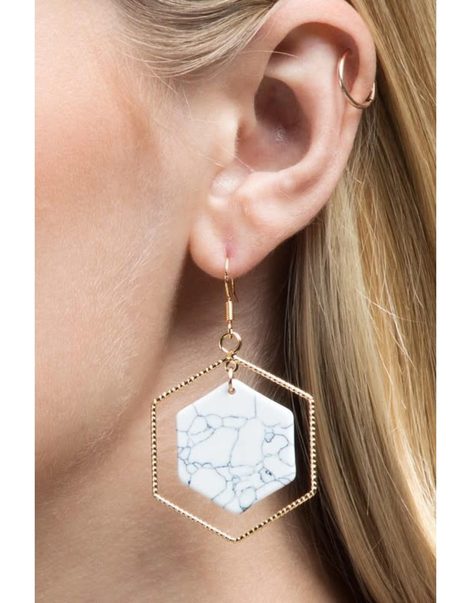 Hexagon Natural Stone Earrings