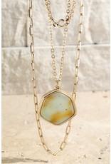 Hexagon Natural Stone Necklace