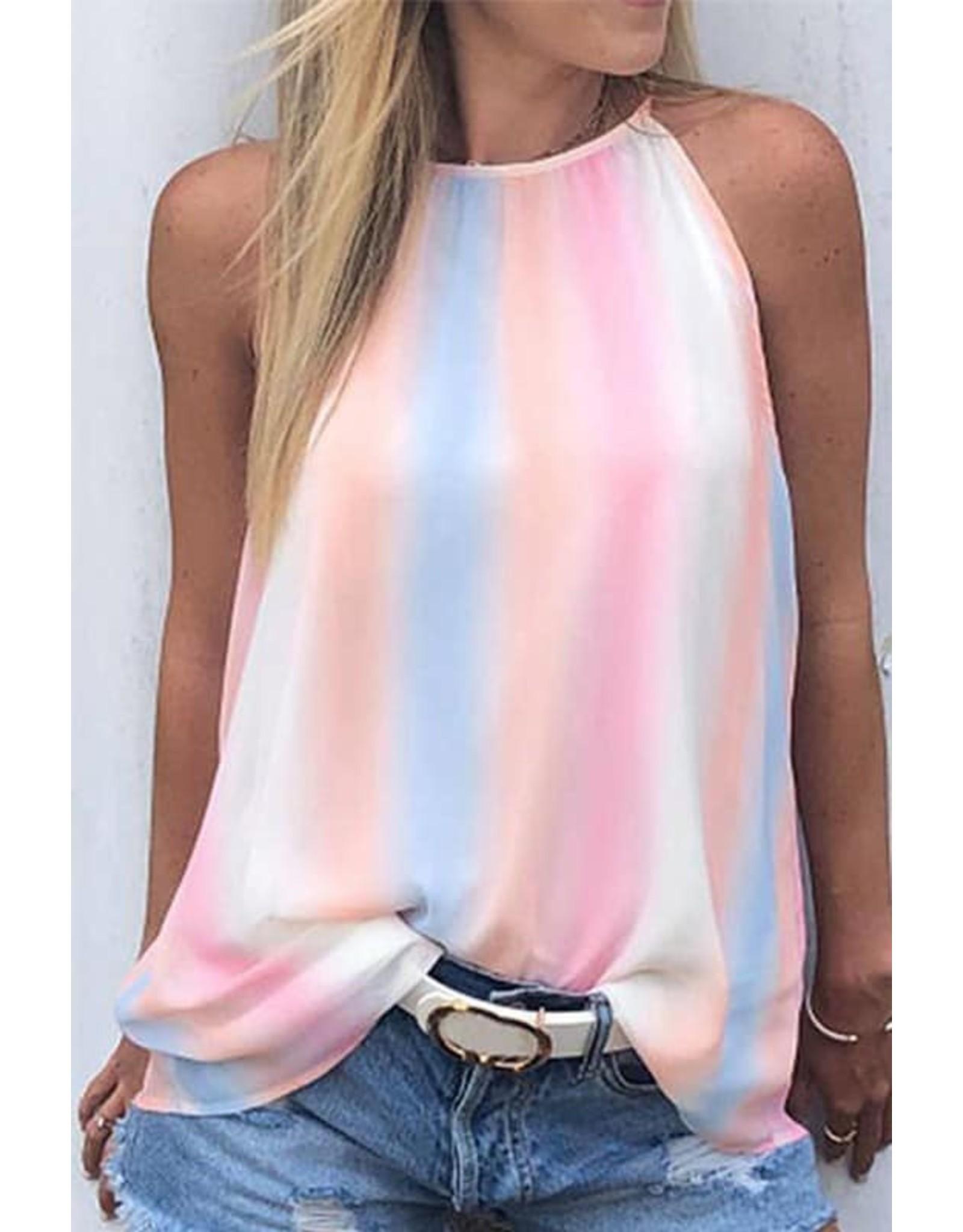 Rainbow Tie Dye Halter Tank Top