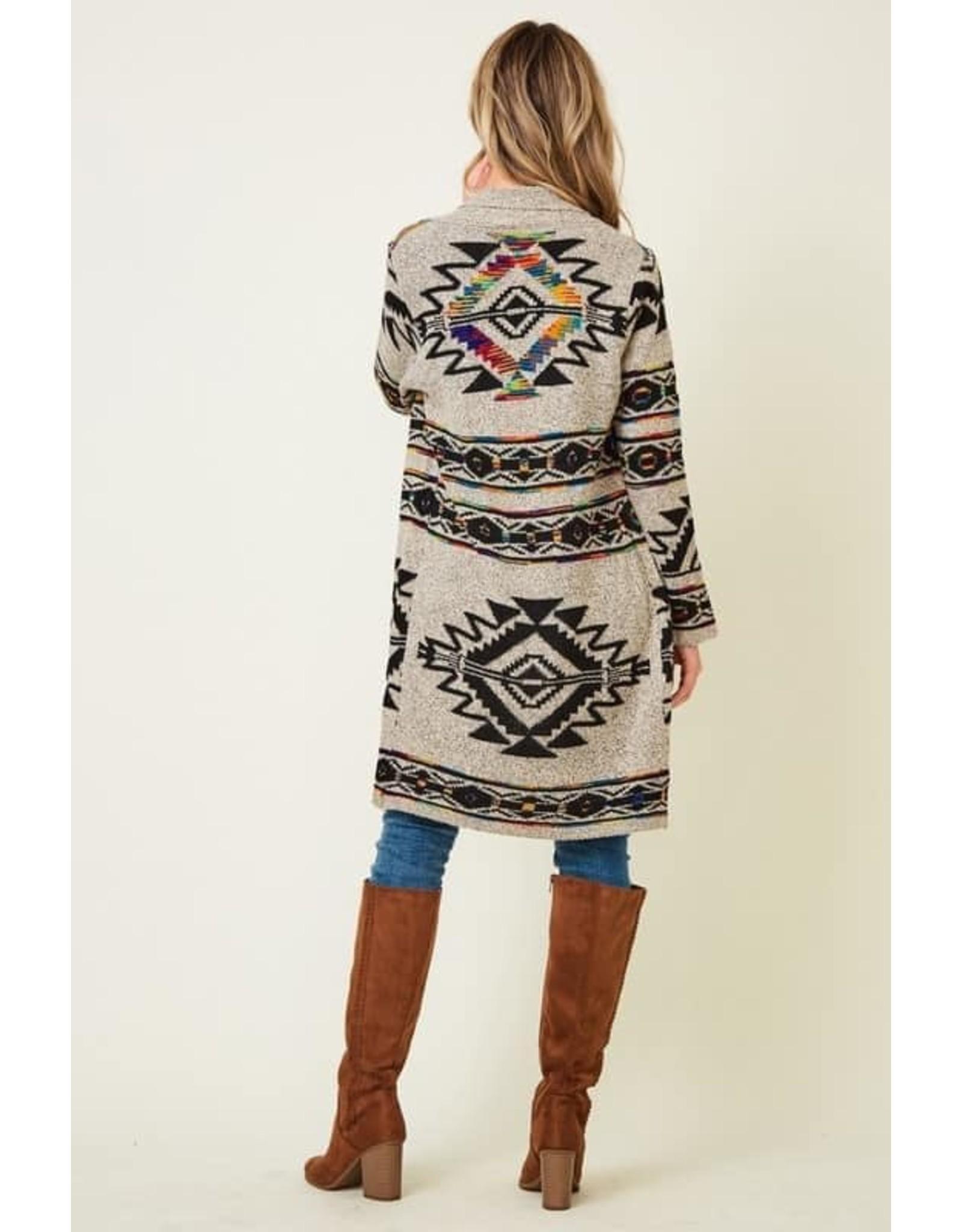 Rainbow Aztec Print Cardigan