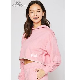 Cotton Terry Cropped Hoodie