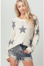 Star Print Knit Sweater