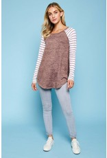 Hacci Top with Striped Sleeves