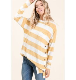 Striped Long Sleeve Button Top
