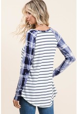 Stripe Top With Tie Dye Contrast
