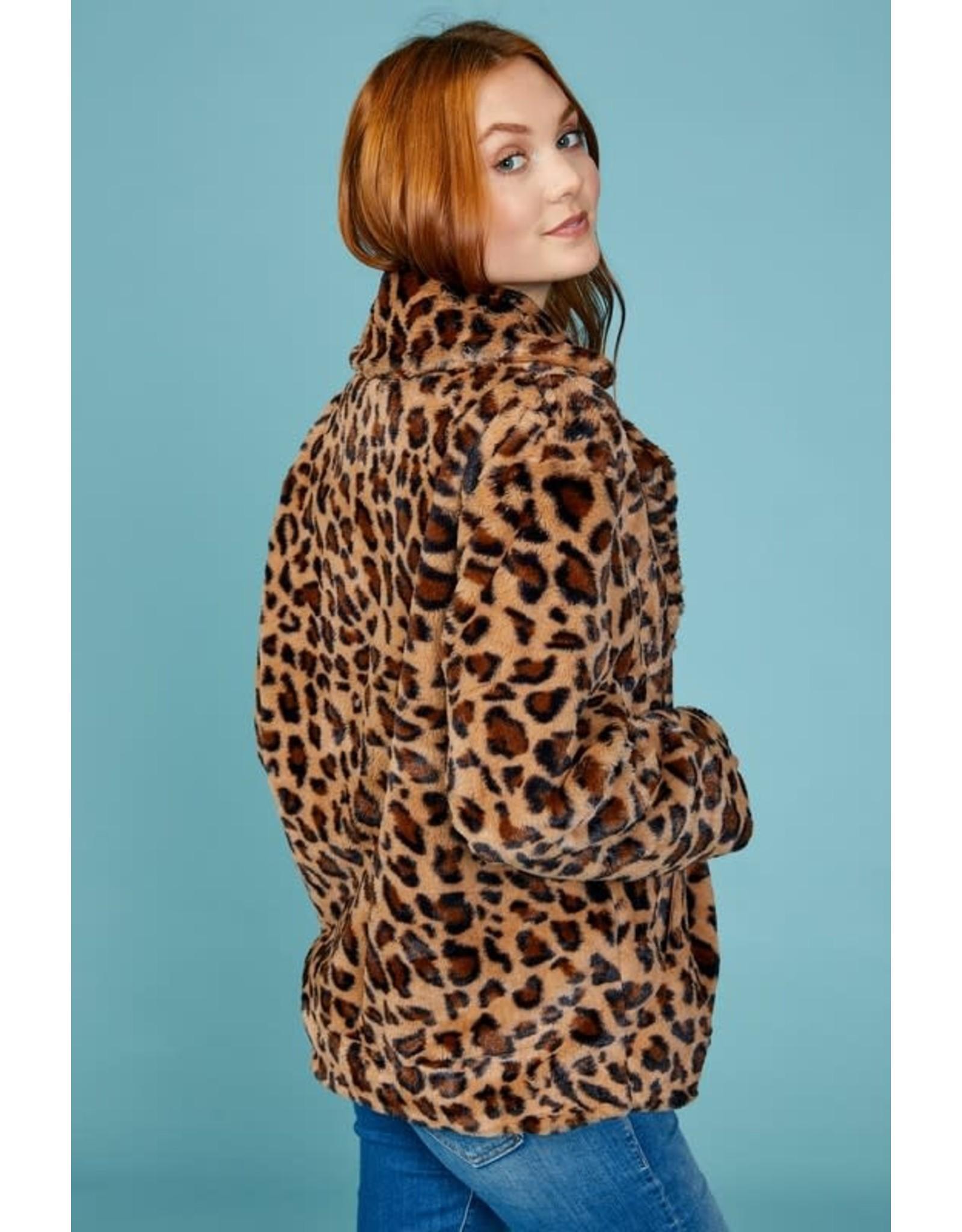 Leopard Print Soft Faux Fur Jacket