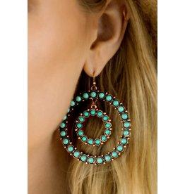 Natural Stone Double Loop Earrings