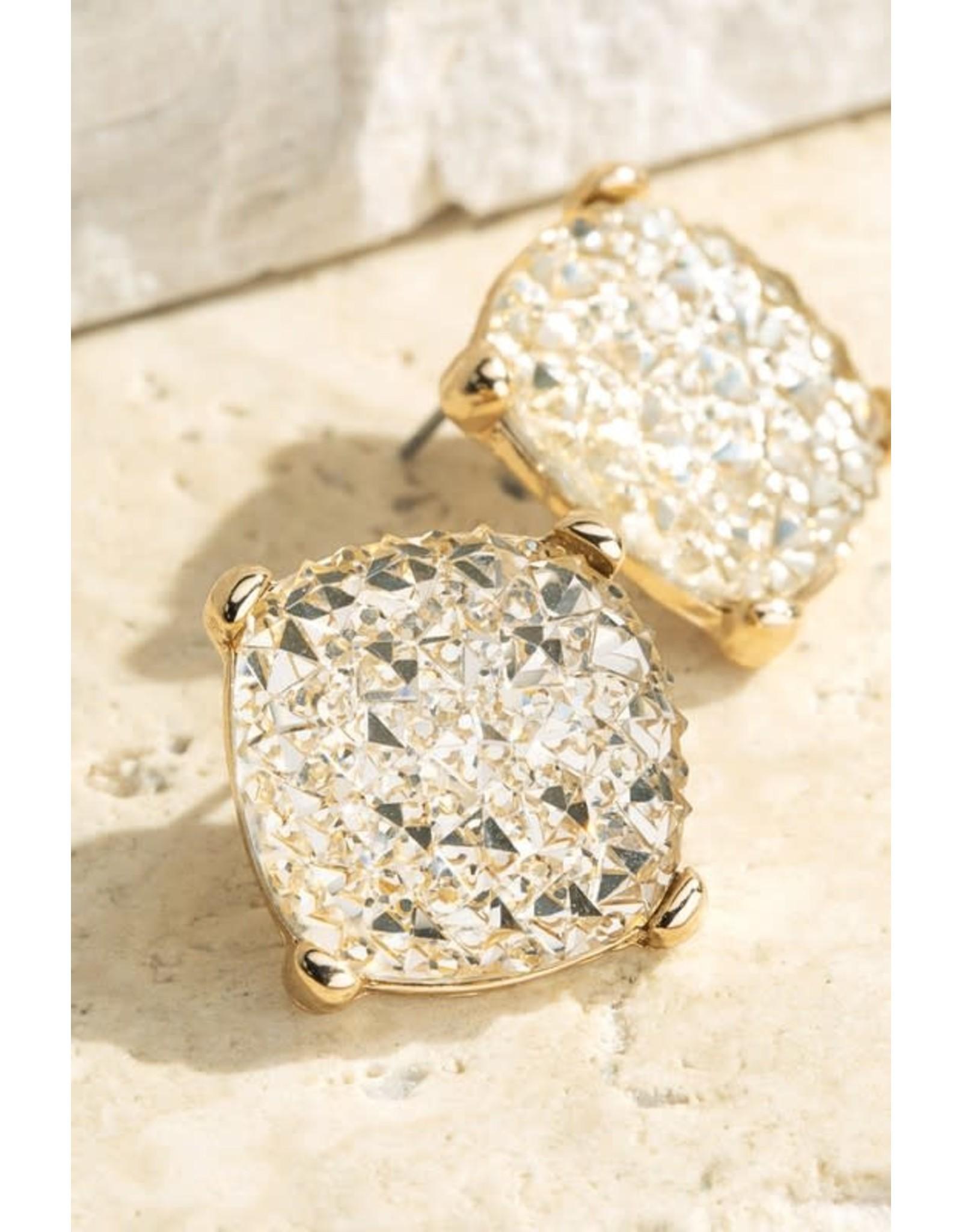 Shimmery Square Stud Earrings