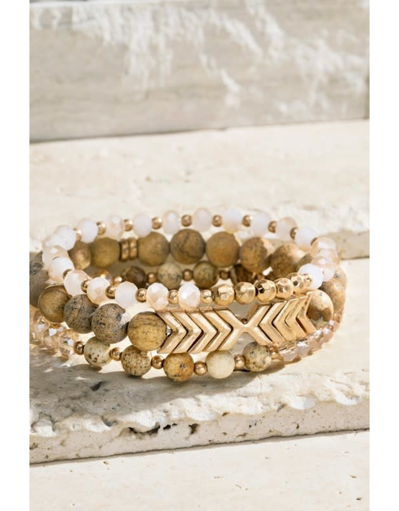 Natural Stone and Chevron Bracelet Set