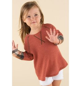Kids Solid Waffle Knit Top with Plaid Contrast Cuffs