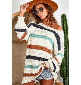 Multi-Stripe Popcorn Sweater