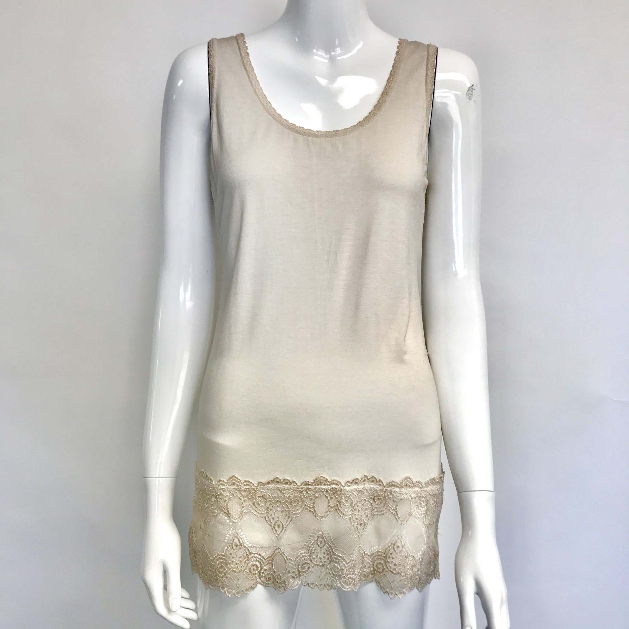 FRENCH FRENCH BRUSHED COTTON LACE CAMI XS/SM
