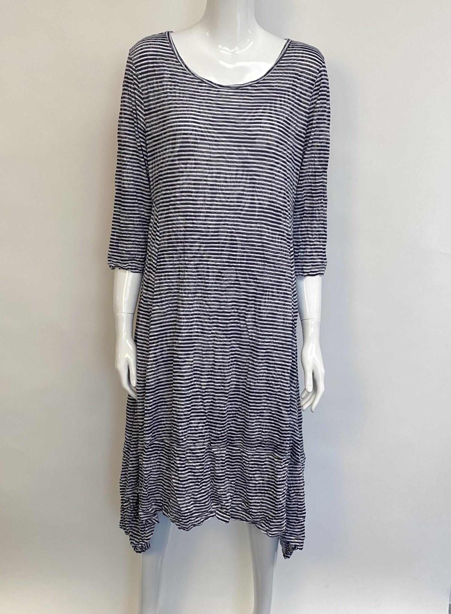 Shana 20128 SHANA STRIPE DRESS BLK/WH