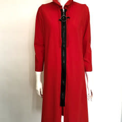 IC 1421J IC LONG ZIPPER COAT WITH WIRE COLLAR RED MED