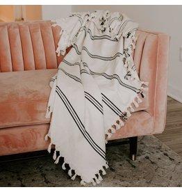 Sweet Water Decor Taylor Turkish Throw Blanket - Three Stripe