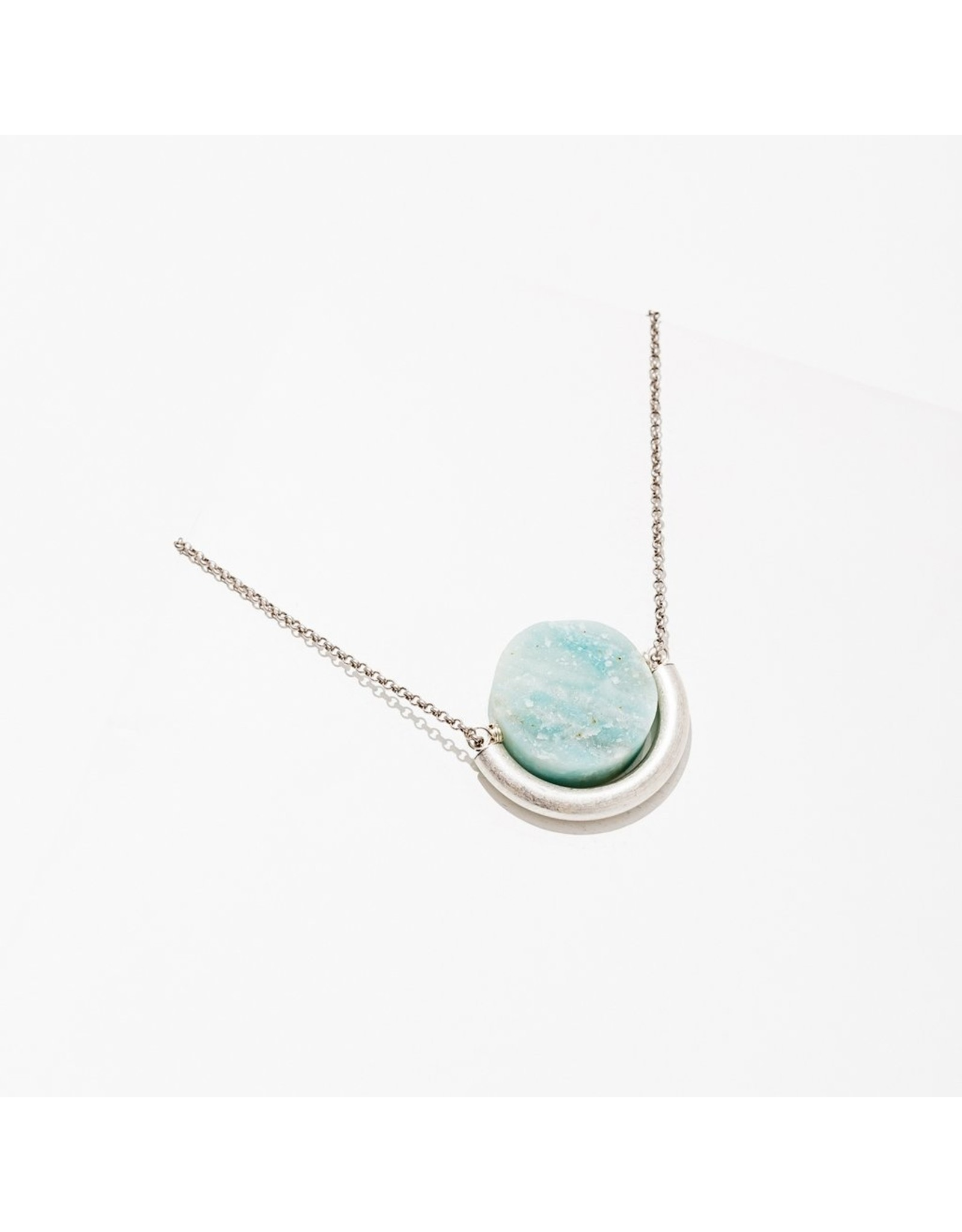 Sun and Moon Necklace, Amazonite Silver