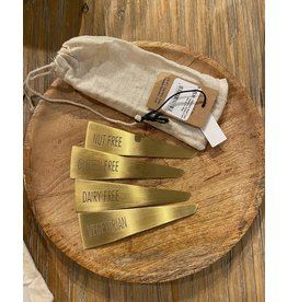 Stainless Steel Food Markers, Brass Finish, Set of 4 in Bag