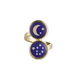 Gold Moon and Stars Mood Ring