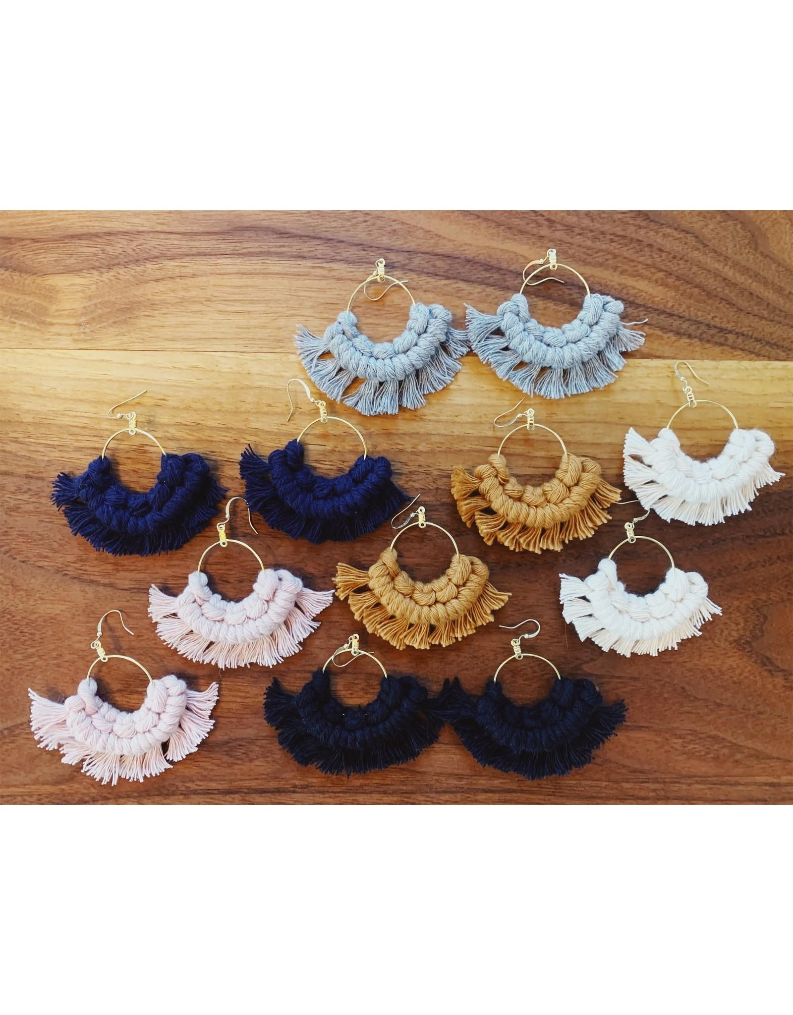 Likewoah Handmade Macrame Fan Earrings