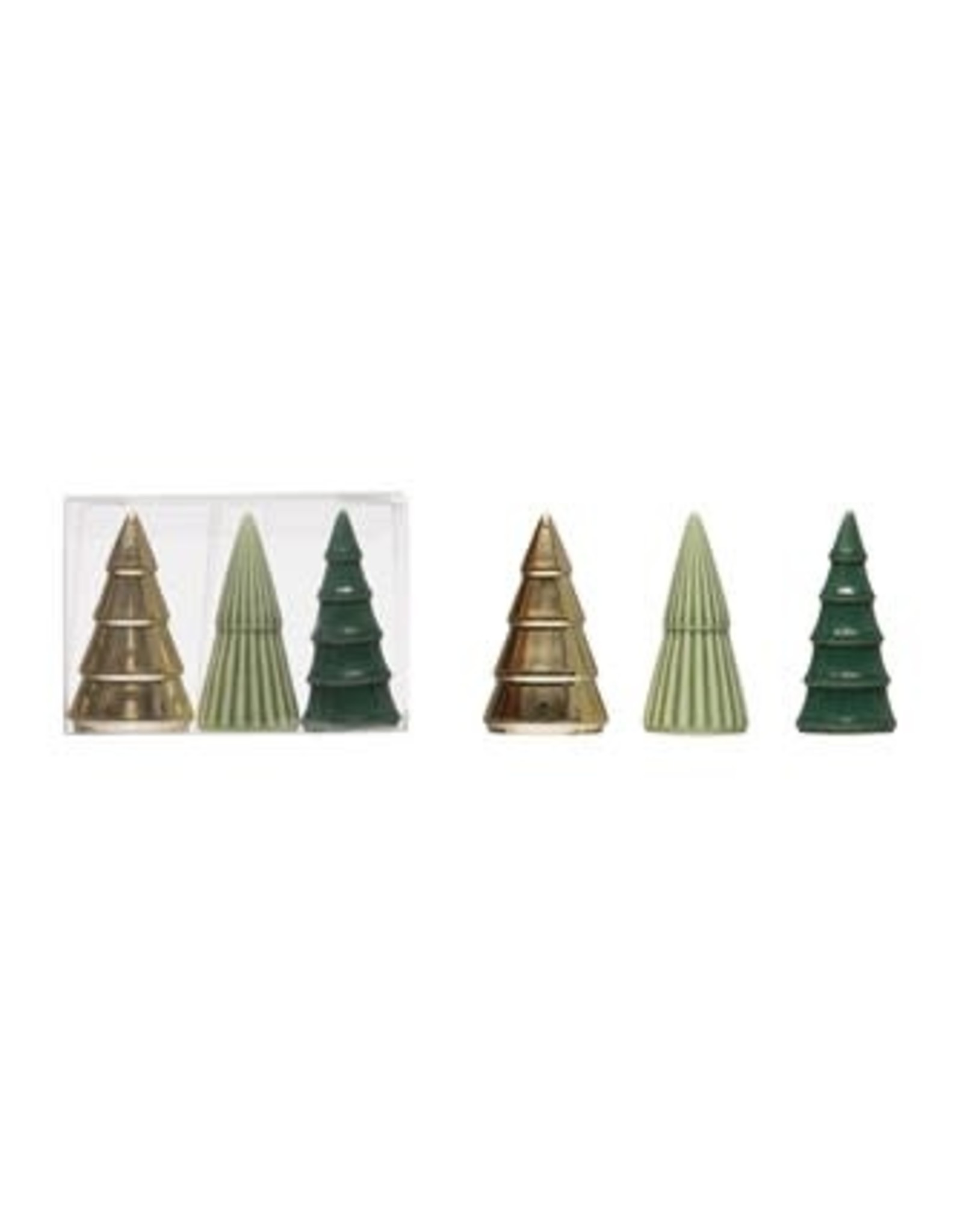 Porcelain Trees, Green Gold and Sage, set of 3