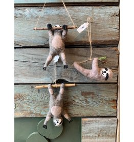 Wool Felt Sloth Ornament, 3 styles