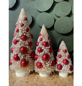 Bottle Brush Trees Ornaments Wood Base, White Red, Set of 3