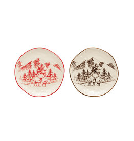Round Stoneware Plate with Mountain Scene, 2 colors