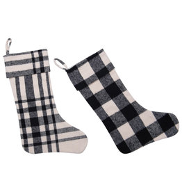 Brushed Cotton Stocking, Black and White Plaid, 2 styles