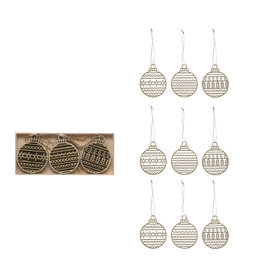 Round Wood Laser Cut Ornaments, set of 9