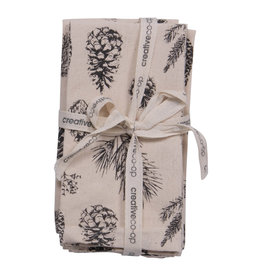 Square Woven Cotton Printed Napkins with Pinecone, set of 4