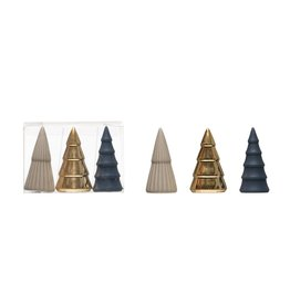 Porcelain Trees, Blue Grey and Gold, set of 3