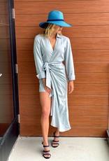 Just Bee Queen JBQ Fernanda Linen Wrap Dress Paris Blue