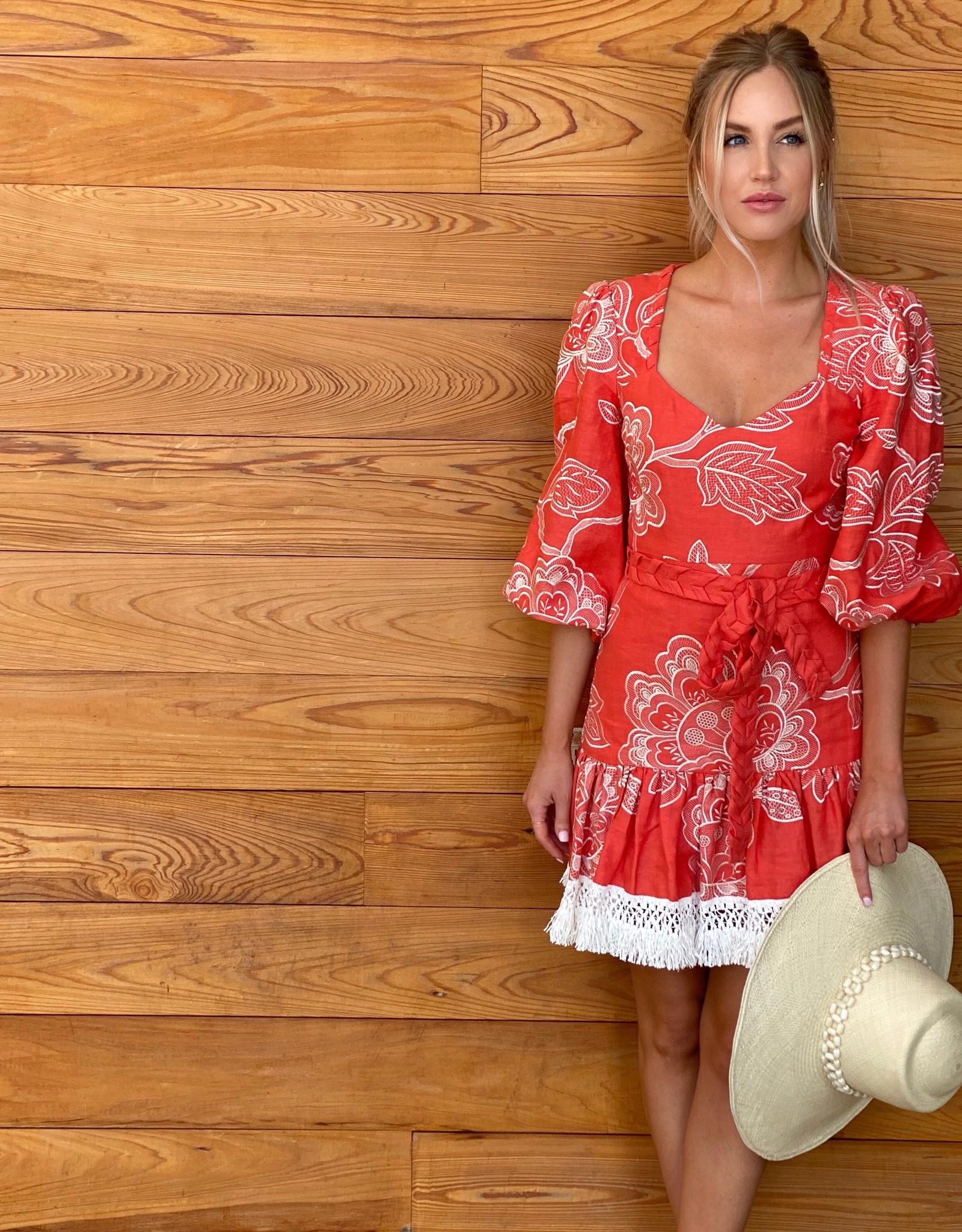 Alexis Alexis Claribel Dress Coral Embroidery