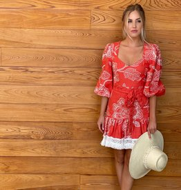 Alexis Alexis Claribel Dress Coral Embroidery