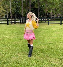 Love Shack Fancy Ruffle Mini Skirt Fuchsia Hand Dye