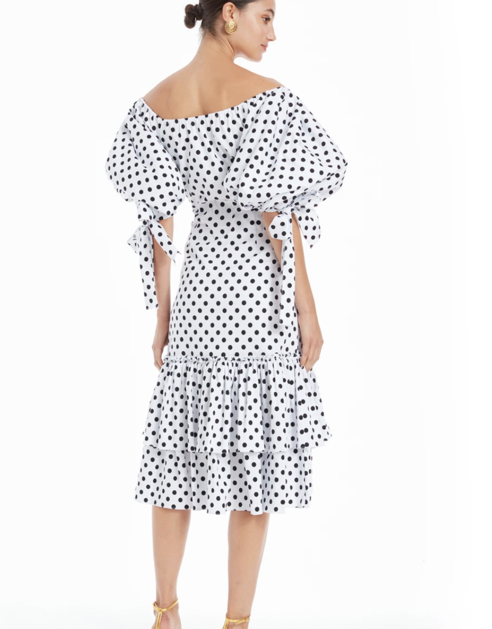 Caroline Constas Nella Midi Dress White Polka Dot