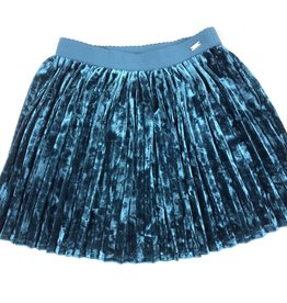 Mayoral Mayoral Teal Blue Crushed Velvet Skirt