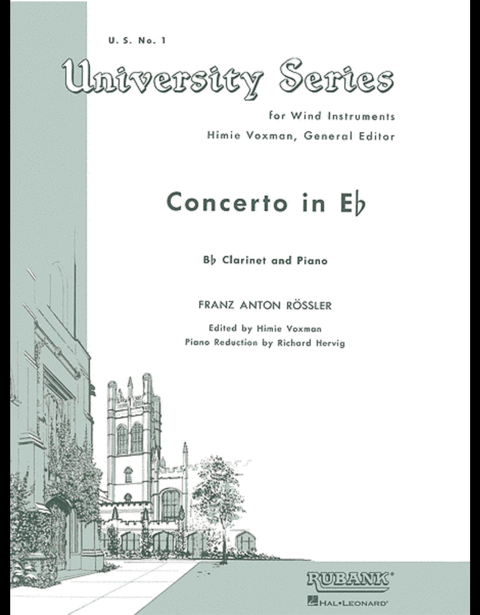 Hal Leonard Anton Rossler - Concerto in E Flat Bb Clarinet Solo with Piano (Arr. Voxman)