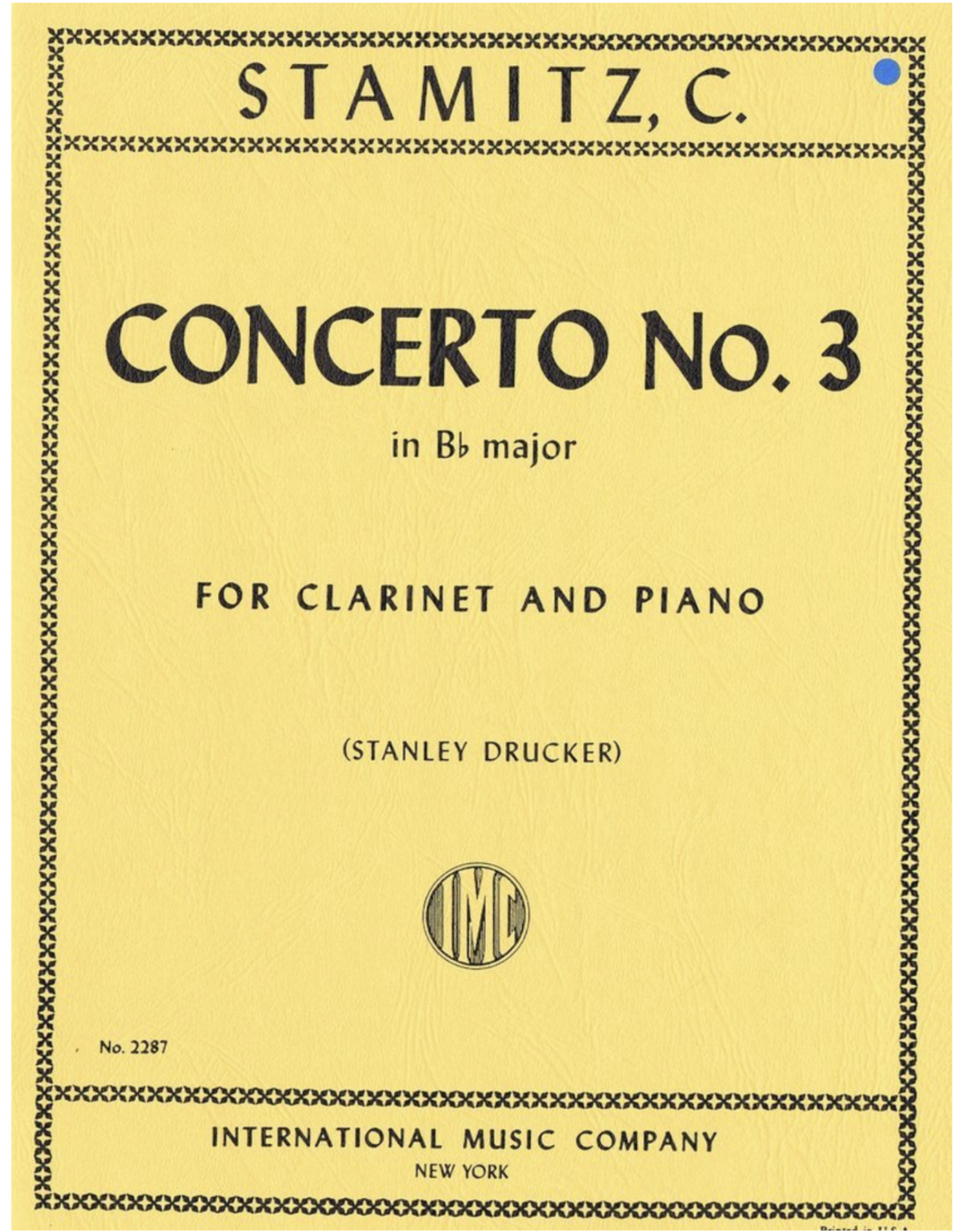 International Stamitz - Concerto No. 3 in Bb Major Clarinet and Piano IMC No. 2287