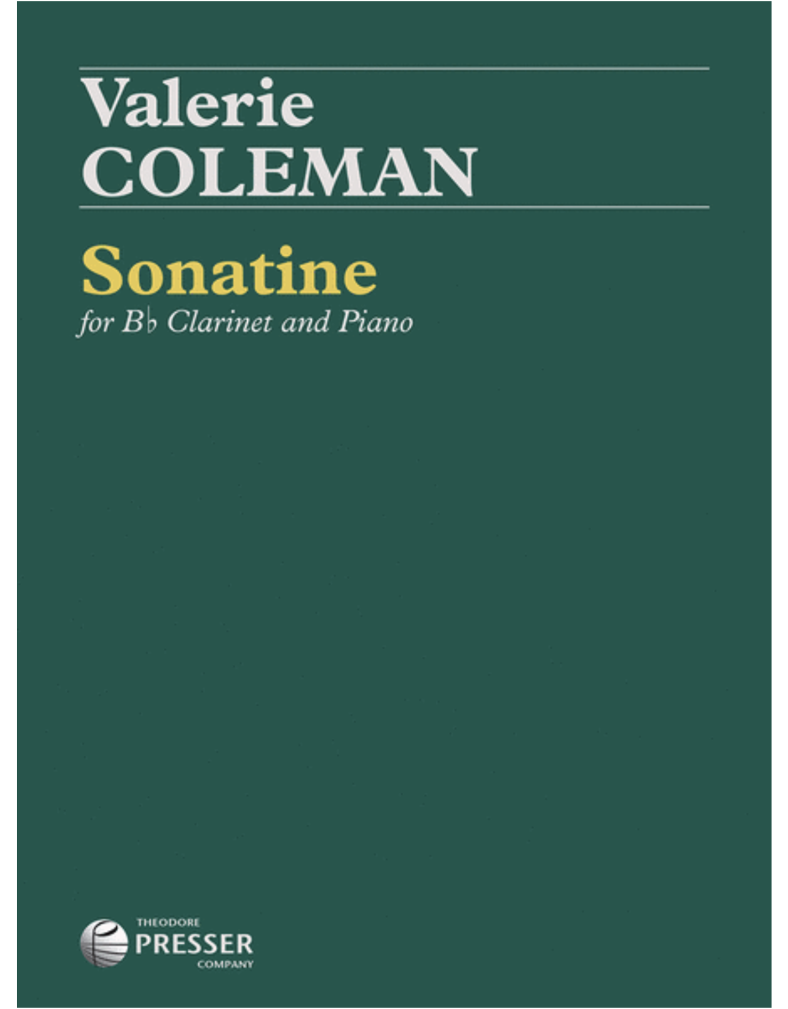 THEODORE PRESSER CO Coleman Sonatine for Clarinet and Piano