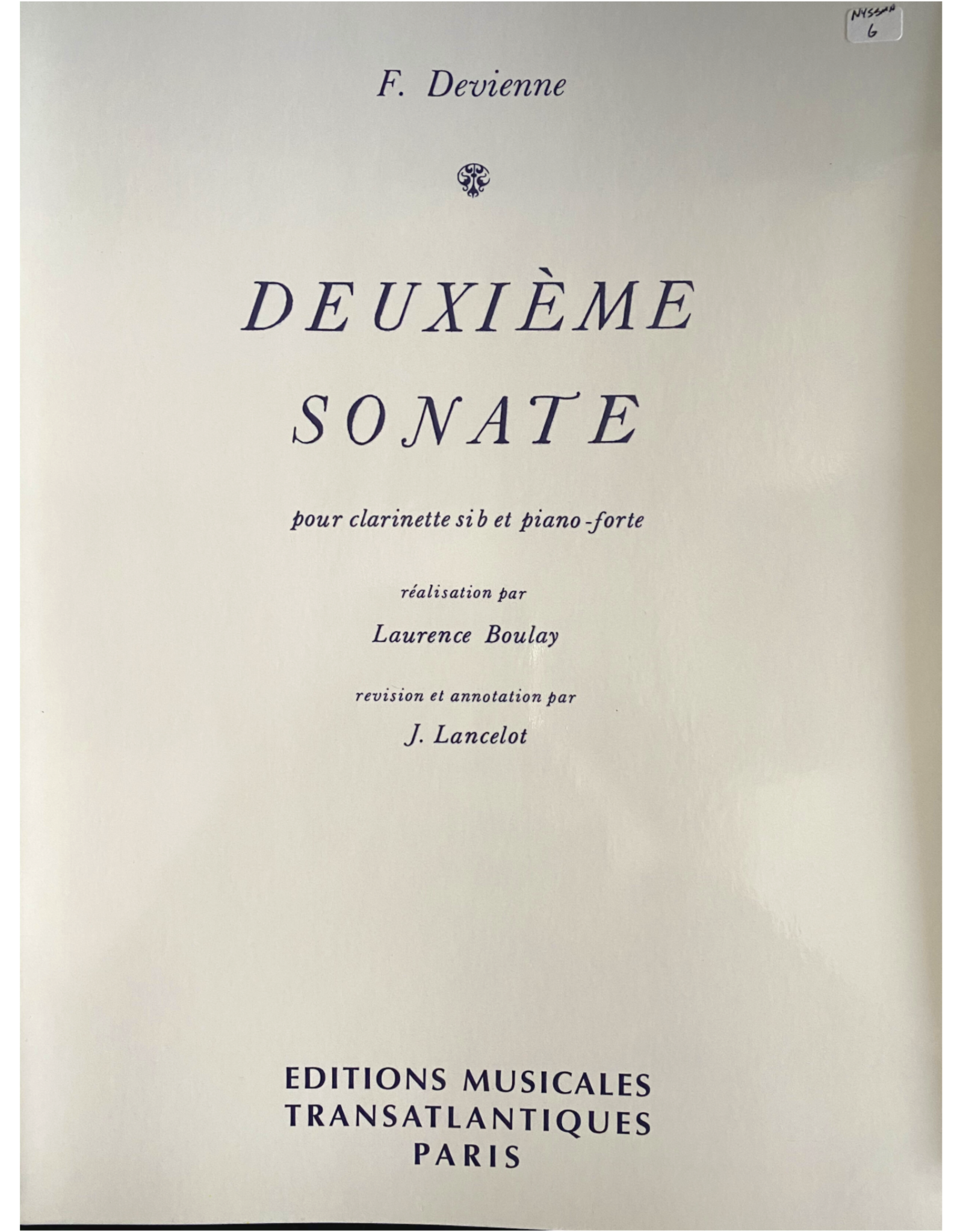 Hal Leonard Devienne Sonata No. 2 for Clarinet and Piano