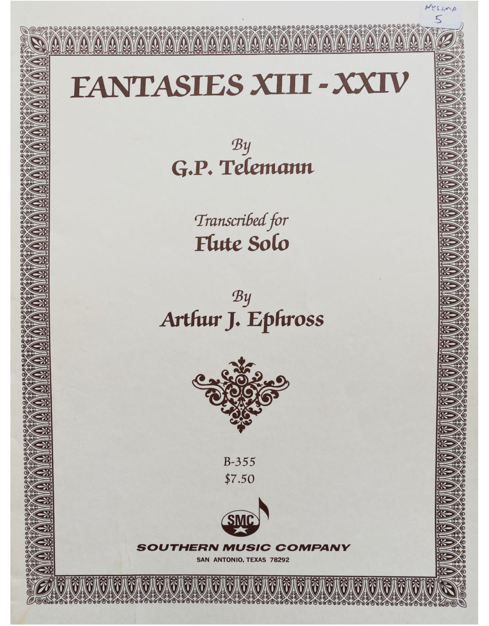 Hal Leonard Fantasies 13- 24 Woodwind Solos & Ensemble/Flute Collection Southern Music