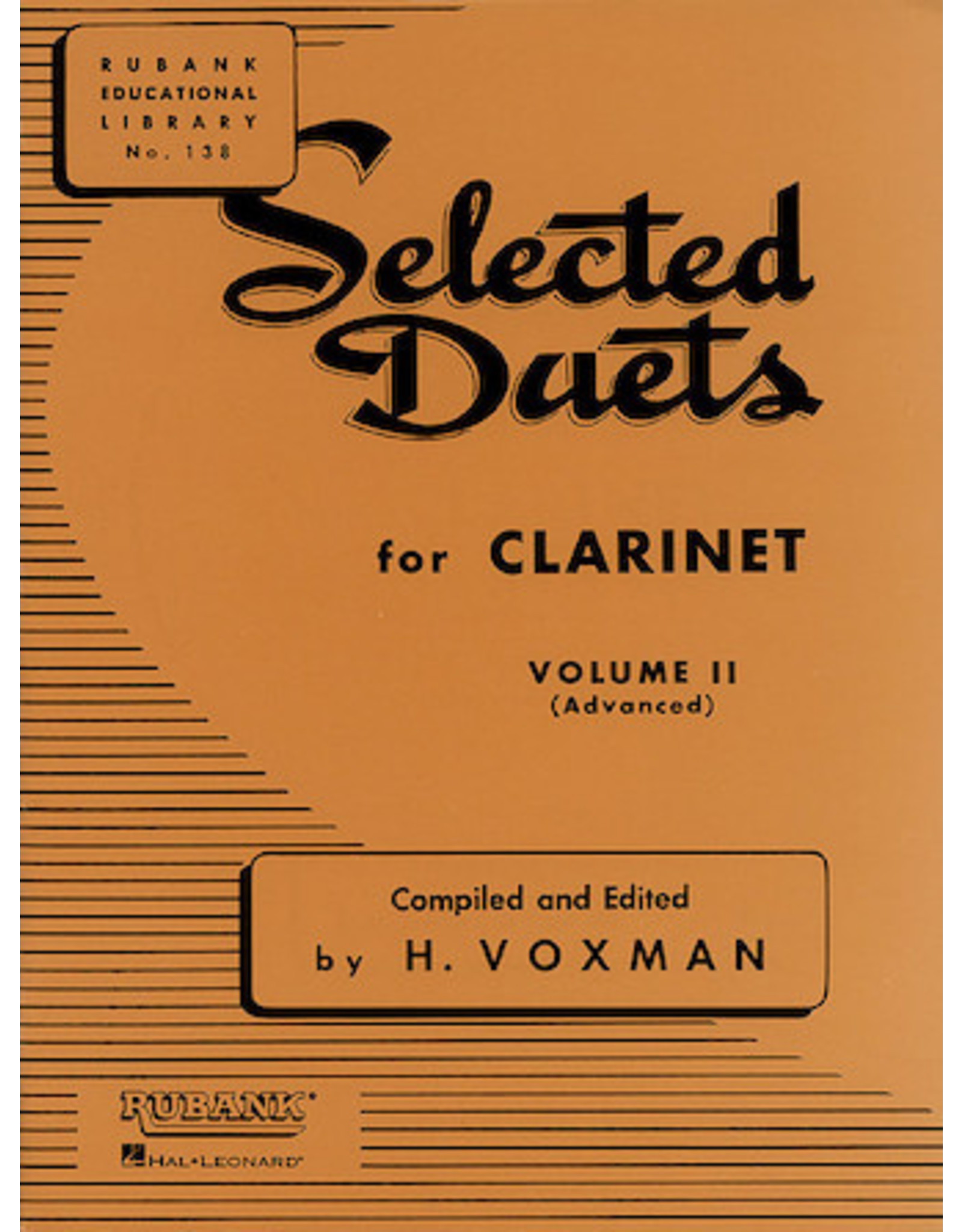 Hal Leonard Selected Duets for Clarinet Volume 2 - Advanced edited H. Voxman Ensemble Collection