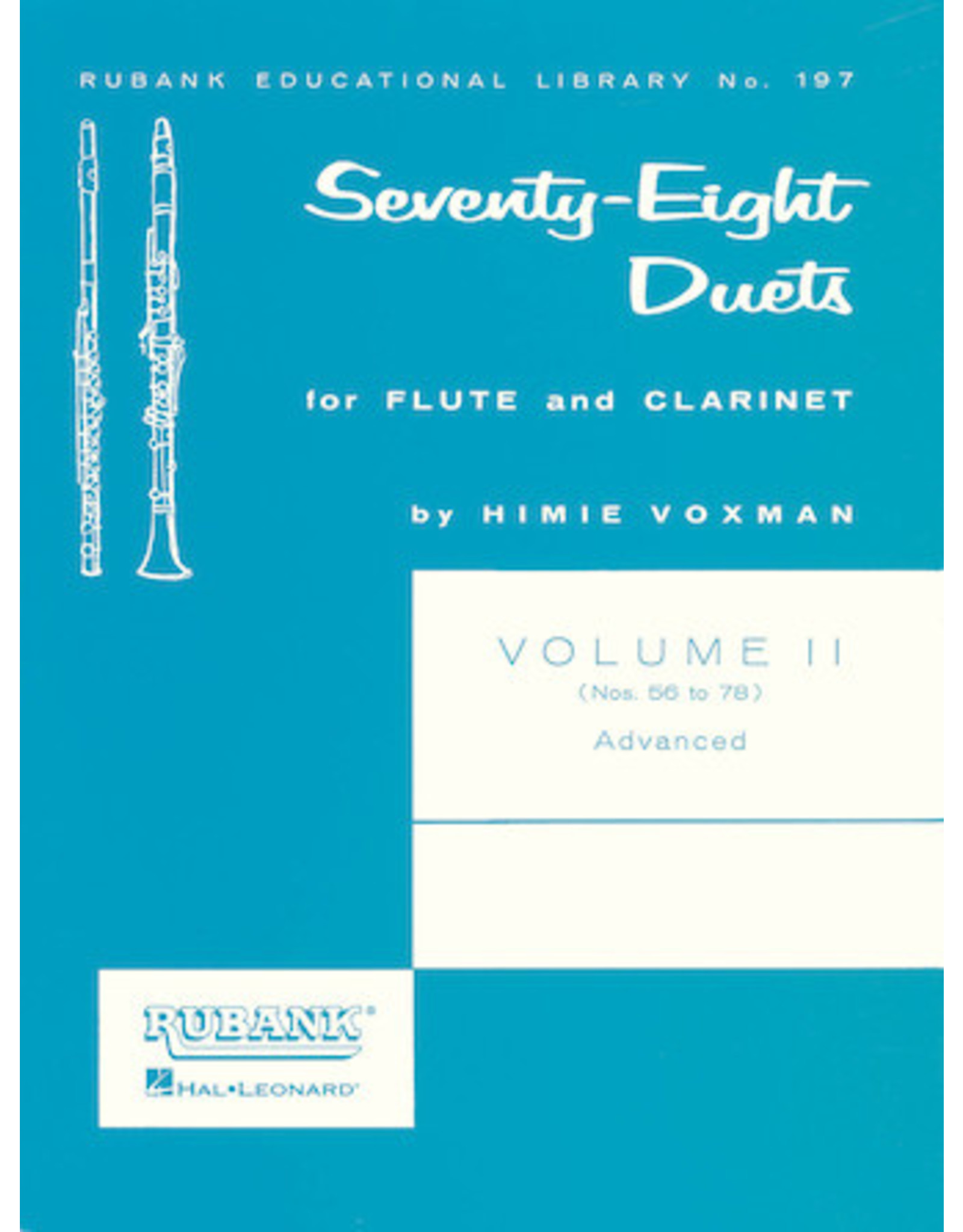 Hal Leonard 78 Duets for Flute and Clarinet Volume 2 - Advanced (Nos. 56-78) edited by H. Voxman Ensemble Collection